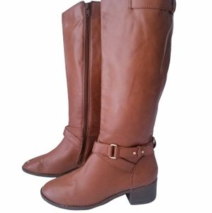 Brown Leather knee high Riding boots